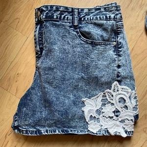 Dark Wash Lace Jean Shorts